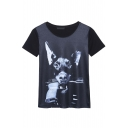 Dog & Gun Print Short Sleeve Round Neck Tee