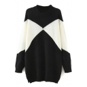 Round Neck Classic Color Block Longline Sweater