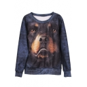 Hunter Dog Print Long Sleeve Pullover Round Neck Sweatshirt