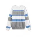 Round Neck Long Sleeve Stripes Color Block Sweater