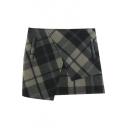 Asymmetrical Hem Zip Side Plaid Bodycon Tweed Mini Skirt