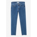 High Waist Straight Blue Raw Edge Plain Cropped Jeans