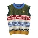 Contrast Round Neck Geometric Jacquard Sleeveless Vest Sweater