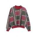 High Neck Plaid Color Block Batwing Sleeve Tweed Sweatshirt