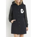 Hooded PU Patchwork Letter Print Single Breasted Long Coat