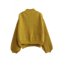 High Neck Long Balloon Sleeve Plain Dip Hem Loose Sweater