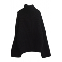 High Neck Raglan Long Sleeve Plain Thicken Sweater