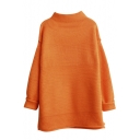 High Neck Loose Long Sleeve Split Side Longline Sweater