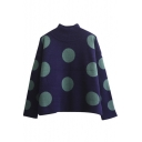 High Neck Polka Dot Color Block Soft Pullover Sweater