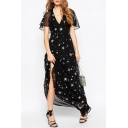 Ruffle Short Sleeve Star Print V-Neck Chiffon Maxi Dress