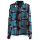 Layered Lapel Color Block Plaid Long Sleeve Shirt