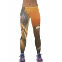 Beautiful Angel Print Elastic Waist Stretch Leggings