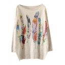 Colorful Feather Print Scoop Neck Batwing Sleeve Sweater