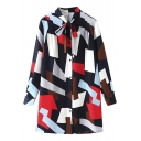 Bow Tie Neck Geometric Color Block Button Down Shirt Dress