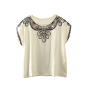 Round Neck Tribal Embroidery Batwing Short Sleeve Blouse