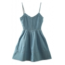 Spaghetti Straps Plain High Waist Flare Denim Mini Dress