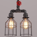 Mottled Iron 2 Light Double LED Hanging Lantern with Red Valve