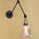 Matte Black Adjustable LED Wall Light with Bell Clear Glass Shade