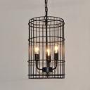 3 Light Lattice Vintage Iron Foyer LED Pendant Light in Black