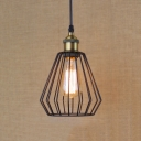 Indoor LED Mini Hanging Pendant in Black with Slatted Metal Cage