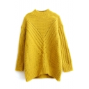 High Neck Batwing Sleeve Plain Chunky Longline Sweater