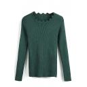 Gear Neck Plain Long Sleeve Bodycon Sweater