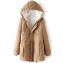 Lamb Wool Lining Zipper Hooded Long Padded Coat