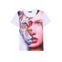 Tiger & Character Print Short Sleeve Round Neck Tee