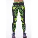 Green Leaf Print Patchwork Elastic Waist Yoga Leggings