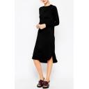 Plain Long Sleeve Curved Hem Midi T-Shirt Dress