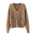 V-Neck Chunky Neck Double Pockets Long Sleeve Plain Sweater