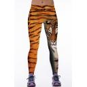 Tiger Print Elastic Waist Skinny Stretch Yoga Leggings