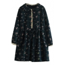 Doll Collar Vintage Floral Print Long Sleeve Drawstring Waist Dress