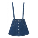 A-Line Button Down Plain Double Pockets Denim Overall Skirt
