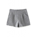 High Waist Gray Plain Double Pockets Loose Tweed Shorts