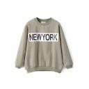 Round Neck Letter Print Front Loose Velvet Plus Sweatshirt
