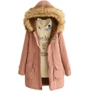Fur Hooded Velvet Lining Zipper Drawstring Long Padded Coat