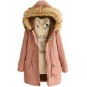 Fur Hooded Velvet Lining Zipper Drawstring Long Padded Coat