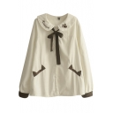 Doll Neck Cartoon Embroidery Bow Tie Front Thicken Shirt