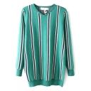 V-Neck Vertical Stripes Long Sleeve Green Long Sweater