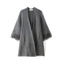 Cocoon Neck Long Sleeve Tassel Cuff Gray Plain Longline Cardigan