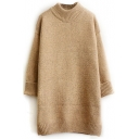 High neck Plain Turn Up Cuff Thicken Longline Sweater