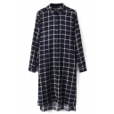 Classic Plaid Button Down Split Side High Low Long Shirt