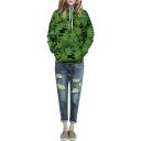 Green Cannabis Leaf Print Hooded Long Sleeve Sweatshirt