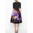Antelope Queen & Galaxy Print A-Line Midi Skirt