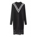 Smock Neck Chevron Long Sleeve Lace Patchwork Hem Sweater