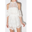 Halter Tie Neck Cold Shoulder Lace Half Sleeve Romper