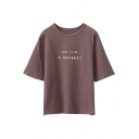 Short Sleeve Letter Print Round Neck Pullover Loose Tee