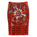 High Waist Vintage Print Baycon Red Pencil Midi Skirt