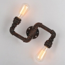 2 Light Double Twisted Arm LED Wall Sconce in Rust Iron Finish